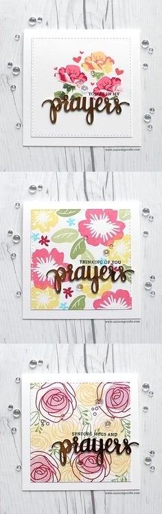 RejoicingCrafts: My floral cards with Simon Says Stamp floral stamp sets and Prayers stamp & Die set. #simonsaysstamp #flower #prayers #lastingheartscarddrive