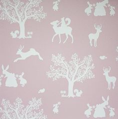 Enchanted Wood Wallpaper A delightful children's wallpaper depicting a fantasy woodland scene in silhouettes of white on pink.