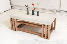43 DIY concrete crafts - Concrete Wood Coffee Table- Cheap and creative projects and tutorials for countertops and ideas for floors, patio and porch decor, tables, planters, vases, frames, jewelry holder, home decor and DIY gifts.  http://diyjoy.com/diy-concrete-crafts-projects
