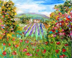 Original oil painting #Provence Lavender and Poppy by Karensfineart