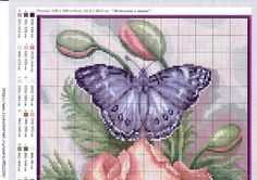 Cross stitch - flowers and animals: Poppy and butterfly (free pattern - chart - part A)