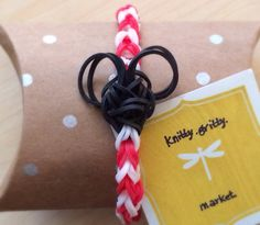Rainbow Loom  MICKEY MOUSE Red and White by KnittyGrittyMarket, $4.00