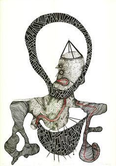 """Open Art Warsaw Artist: Piotr Pasiewicz, Linocut+, 2012, """"Przemiana II 1/1"""", 70x100"""