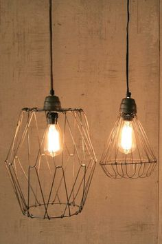 vintage inspired wire pendant lamp with flexible flared base, cloth cord, and ceiling cap | rustic wire electrical lamp