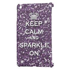 Purple Glitter Keep Calm & Sparkle Ipad Mini case perfect for girly girls or Twihards!