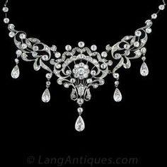 Antique Diamond Bib Style Necklace - Edwardian Jewelry - Vintage Jewelry