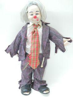 """Hobo Clown Doll Ceramic 19"""" Tall Doll Clowns Circus Hobo Bum Clown Figurine Doll"""