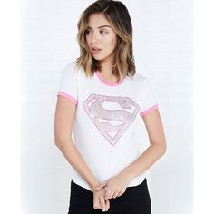 Superman™ Rhinestone Ringer Tee ($17) ❤ liked on Polyvore featuring tops, t-shirts, white, crewneck tee, crew neck tee, rhinestone tees, crewneck t-shirt и short sleeve tops