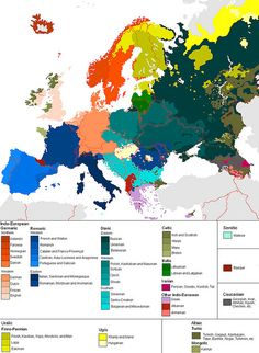 Languages of Europe (but take this with a big grain of salt; lines between colors are, in reality, much blurrier)