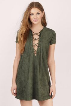 Caitlan Faux Suede Shift Dress at Tobi.com #shoptobi