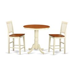 EDVN3-WHI Cream/Off-white Rubberwood 3-piece Pub Table Set Including Table and 2…