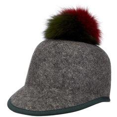 Women's Helene Berman Genuine Fox Fur Pompom & Wool Cap ($165) ❤ liked on Polyvore featuring accessories, hats, anthracite, helene berman hats, helene berman, pom pom cap, fox fur hat and cap hats