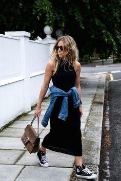 Le Fashion Blog Lucy Williams Black Dress Tied Waist Jean Jacket Converse Sneakers Gucci Bag Via Fashion Me Now