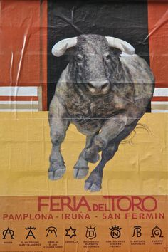 Photo:T. Running Of The Bulls, Spanish Architecture, Protest Signs, Cultural Events, Vintage Posters, Pamplona Spain, Travel Destinations, Places To Go, Lion Sculpture