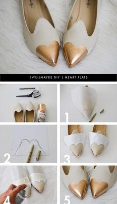 DIY: rose gold heart flats//