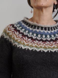 Ravelry: Project Gallery for Afmæli - anniversary sweater pattern by… Knitting Stitches, Knitting Patterns Free, Knit Patterns, Free Knitting, Free Pattern, Knooking, Fair Isle Pattern, Fair Isles, Fair Isle Knitting