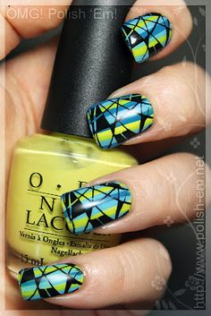 Basecolor: Fiercely Fiona by OPI Stripers: Neon Set by Art Club Imageplate: M64 by Konad Stamping color: Black by Konad