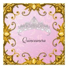 Quinceanera Birthday Party Pink Gold White Tiara 5.25x5.25 Square Paper Invitation Card