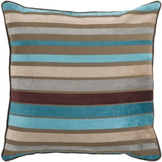 This pillow by Surya is charming with aqua and brown stripes JS-024