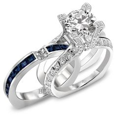 Blue Sapphire Wedding Ring Set - would rather have sapphire in center instead of diamond. Unusual Engagement Rings, Round Diamond Engagement Rings, Engagement Ring Settings, Diamond Wedding Rings, Engagement Ideas, Diamond Bands, Sapphire Wedding Sets, Solitaire Ring, Engagement Bands