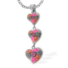 Liquidation Channel | German Ceramic Art Clay Hearts Pendant with Chain in Stainless Steel