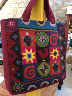 Jolly Red African Tiles tapestry, made into a stunning tote bag. Tapestry Bag, African Fashion, Diaper Bag, Tiles, Cross Stitch, Chart, Wool, Tote Bag, Patterns