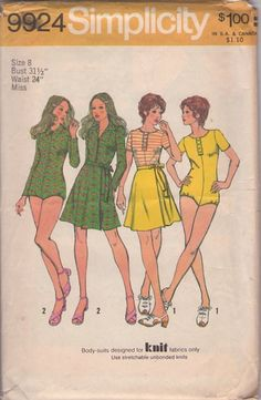 Simplicity 9924 Vintage 70's Sewing Pattern SPUNKY Disco Era Yoga Bodysuit, Leotard, Front Wrap & Tie Mini Skirt
