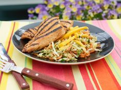 Get BBQ Jerk Chicken with Caribbean Mango Slaw Recipe from Food Network