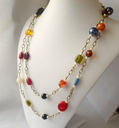 Long Necklace Multi Colored Glass & Gemstone Beads by HollynSage, $54.00