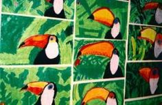 Toucans with oil pastels....found pic to use on Enchanted Learning... use w oil pastels or use on headband hat