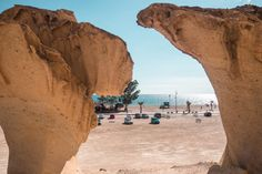 Discover one of Spain's most beautiful natural attractions, Ciudad Encantada de Bolnuevo in Mazarrón. An otherworldly landscape of spectacular sandstone formations! Spain Road Trip, Harbor Town, Natural Wonders, The Great Outdoors, Lightroom Presets, Enchanted, Landscape, City, Beach