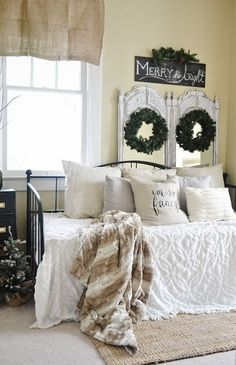 Simple neutral Christmas decor - great for calm relaxing holiday decorating. So simple