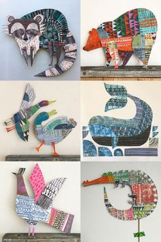 paper patterns My Owl Barn: Joyful Paper Creations by Clare Youngs Middle School Art, Art School, Arts And Crafts, Paper Crafts, Paper Art Projects, Animal Art Projects, School Art Projects, Animal Crafts, Paper Collage Art