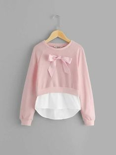 SHEIN Girls Pink Bow Front Casual Sweatshirts For Girls Tops 2019 Spring Fashion Long Sleeve Cute Pullover Children Clothes Spring Fashion, Autumn Fashion, Pink Patterns, Girls Bows, Spandex Fabric, Latest Fashion For Women, Types Of Sleeves, Pink Girl, Girl Outfits