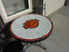 refurbished old table with mosaic Harley Davidson design