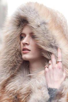 Fox fur hood