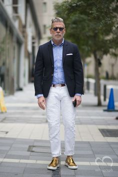 Nick Wooster at Japan Tokyo Fashion Week 2014 Fall Winter. Those shoes! Nick Wooster, Tokyo Fashion, Mens Fashion, Most Stylish Men, Casual Looks, Gentleman, Casual Outfits, Street Style, How To Wear