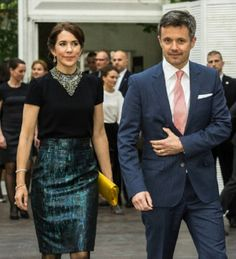 Danish Crown Prince Frederik and Crown Princess Mary attending a reception at the Ambassador in Warsaw, 13.05.2014.