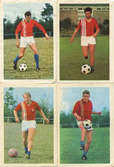 Willy, Andre, Issy and Rene - F.C. Twenthe footbal club. Players cards, 1970