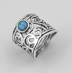 New SHABLOOL Fine Ring Blue Opal Solitaire Jewelry 925 Sterling Silver
