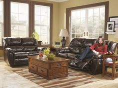 Rouge Mahogany (Power) Reclining Living Room Set is infused with a chic contemporary style that is made for your leisure