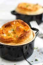 Chicken and Mushroom Pot Pies. These chicken and mushroom pot pies come together in a cinch for a quick and comforting dinner! A British classic for the colder months! Pie Recipes, Chicken Recipes, Cooking Recipes, Turkey Recipes, Dinner Recipes, Dinner Ideas, Entree Recipes, Party Recipes, Fun Cooking