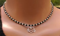 Black and silver choker, beaded choker, crystal choker, heart charm choker, gift for her, black and silver beaded necklace, dainty choker by TamDavisDesigns on Etsy