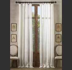 """Restoration Hardware»Sheer Belgian Linen»Sheer Belgian Linen Drapery    Our sheer, unlined drapery welcomes light into the room while giving the window a soft, neutral finish.    Finished in the USA of 100% Belgian linen  Includes pre-attached hooks for drapery rings  Use 7 clip drapery rings per single-width (50""""W) Rod-Pocket panel  Panels and drapery rings are sold separately  Dry clean  Select colors are Catalog and Web only"""