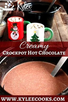 A thick, creamy and totally decadently rich slow cooker hot chocolate that can be made and kept warm for hours! Perfect for Fall and Winter celebrations (or any old Tuesday). Also perfect for TimTam Slams. Hot Chocolate Recipe Easy, Crockpot Hot Chocolate, Homemade Hot Chocolate, Hot Chocolate Bars, Easy Crock Pot Hot Chocolate Recipe, Hot Cocoa Recipe, Vegan Chocolate, Chocolate Desserts, Chocolate Chips