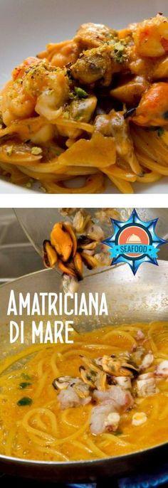 La migliore matriciana o amatriciana di mare la fai con questa ricetta Pasta All Amatriciana, Fish Pasta, Garlic Prawns, Cooking Recipes, Healthy Recipes, Linguine, Fish And Seafood, Gnocchi, Spaghetti