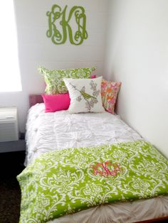 girl dorms Dorm Room Decorating Ideas pink and green custom dorm bedding Decor 2 Ur Door Dorm Room Bedding, Bedding Decor, Dorm Life, College Life, College Food, Girl Dorms, Home Goods Decor, College Dorm Rooms, My New Room
