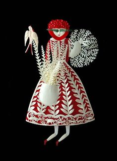 Elsa Mora-- a folk art style paper crafted maiden of the woodland creatures.. so lovely <3