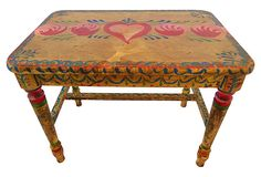 """Peter Hunt-Style Folk Art Table - 22""""L  x 14.5""""W x 18""""H -"""