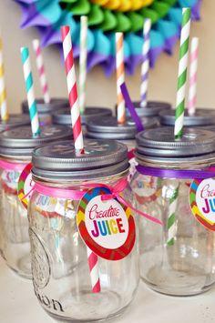 Rainbow Art- Creative juice tags/circles-  Rainbow art party, art party, rainbow party. $10.00, via Etsy.